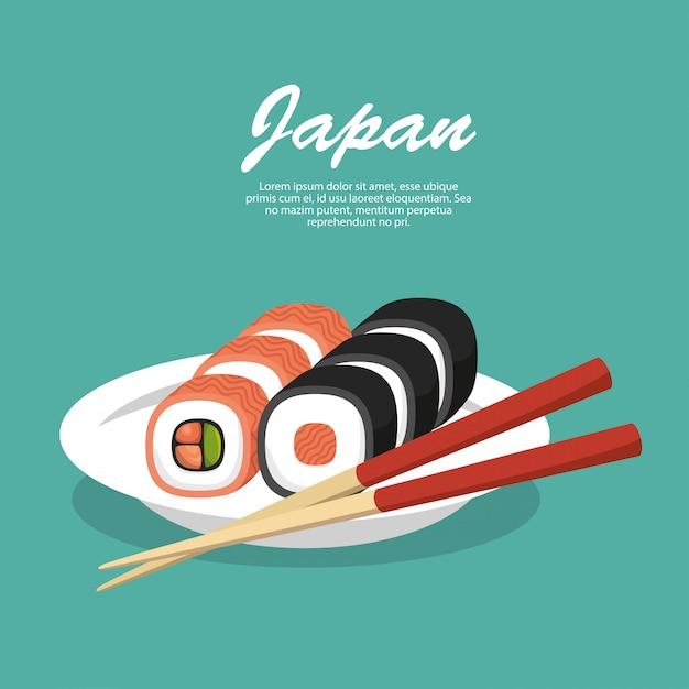 Japón viajes comida sushi vector gratuito