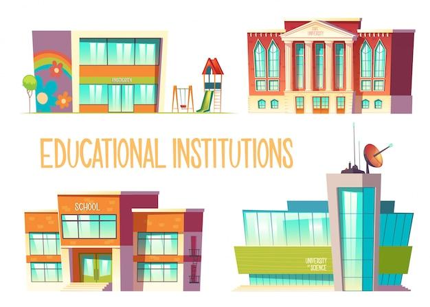 Jardín de infantes, escuela, universidad estatal y de ciencias vector gratuito