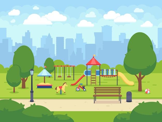 Jardín Urbano Urbano De Verano Con Parque Infantil Parque