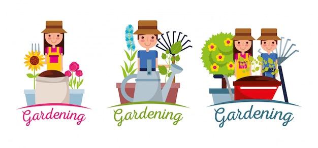 Jardinería banner personas jardinero equipo árbol planta y flores Vector Premium