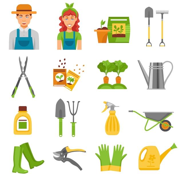 Jardinero herramientas accesorios planos iconos conjunto vector gratuito