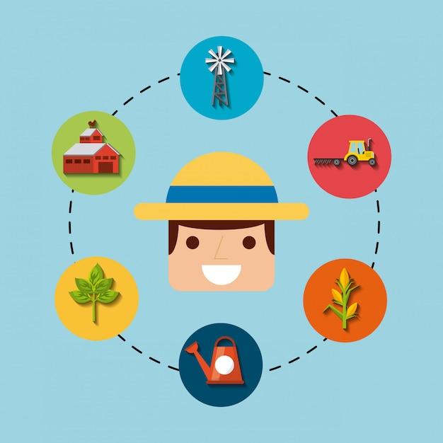 Jardinero y jardinería iconos de diseño. Vector Premium