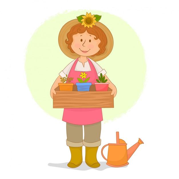 Jardinero niña sosteniendo una caja de plántulas Vector Premium