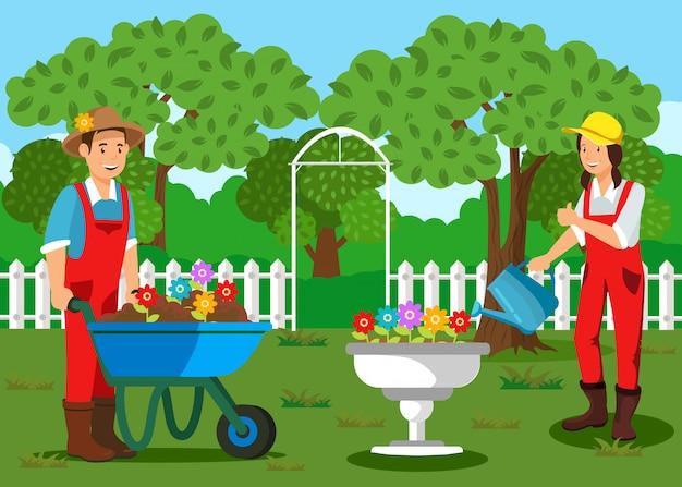 Jardineros plantando flores dibujos animados ilustración | Vector ...