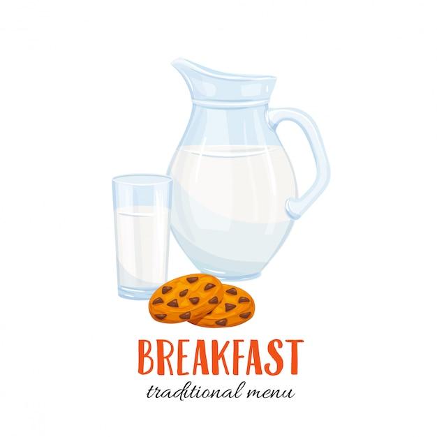 Jarra de leche y vaso con galleta Vector Premium