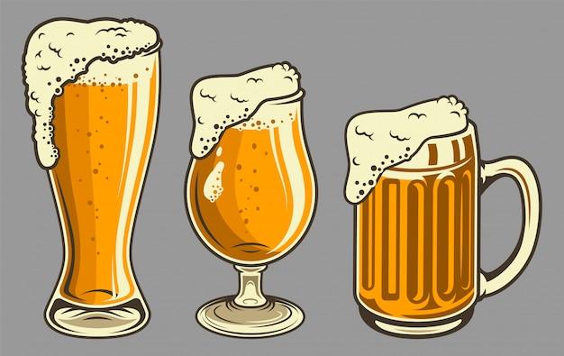 Jarras de cerveza con espuma en estilo vintage vector gratuito