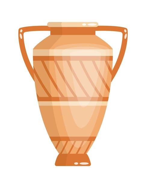 Jarrón griego de estilo antiguo como plantilla para el interior. urna de cerámica de la cultura de grecia en color y forma tradicionales. ánfora de la antigüedad griega. Vector Premium