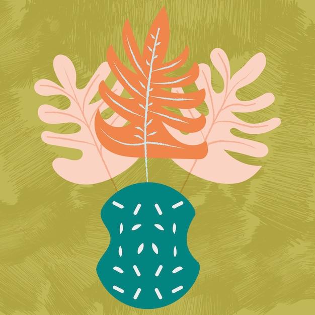 Jarrón con hojas tropicales. vector acuarela, dibujado a mano ilustración, colores de tendencia, moderno. hojas tropicales Vector Premium