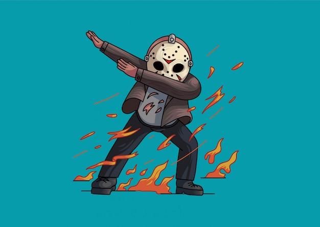 Jason voorhees dabbing estilo halloween lindas Vector Premium