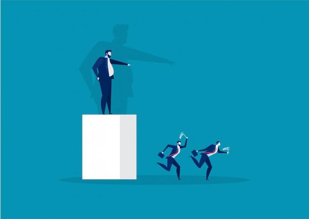 Jefe apuntando la dirección al empleado correr al vector del concepto de éxito Vector Premium
