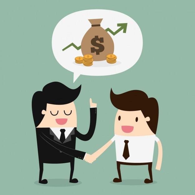 Jefe y empleado hablando de dinero vector gratuito
