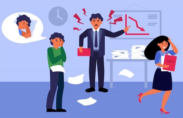 Jefe enojado gritando a sus empleados en la oficina vector gratuito