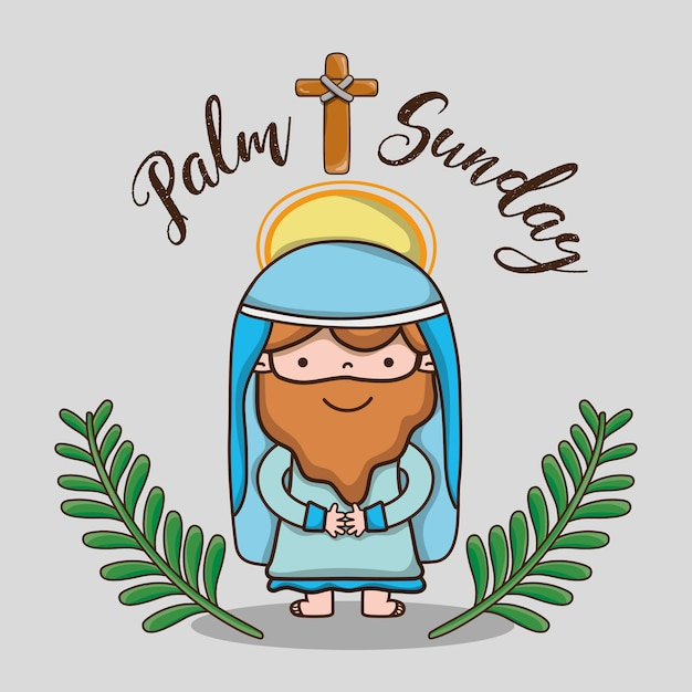 Jesús con ramas de palma y cruz católica religión | Descargar ...