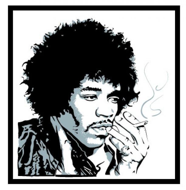 Jimmy hendrix retrato fumar vector gratuito