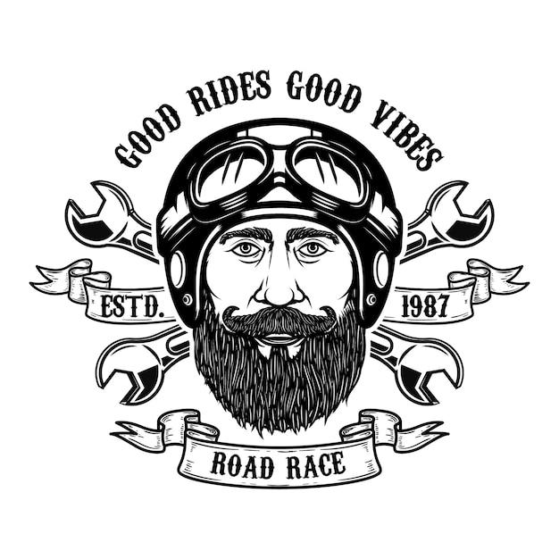 Jinete barbudo buen paseo, buen rollo. hombre barbudo cabeza en casco de moto. elemento para emblema, signo, cartel, camiseta. ilustración Vector Premium