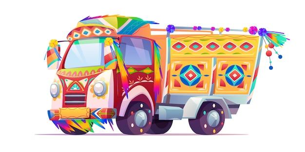 Jingle truck, transporte adornado de india o pakistán vector gratuito