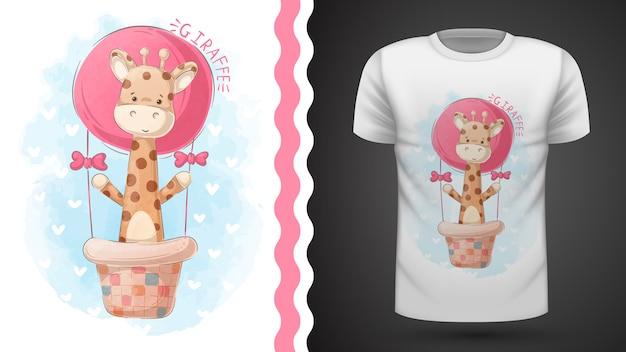Jirafa y globo aerostático - idea para camiseta estampada Vector Premium