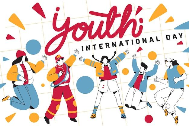 Jornada juvenil con gente saltando vector gratuito