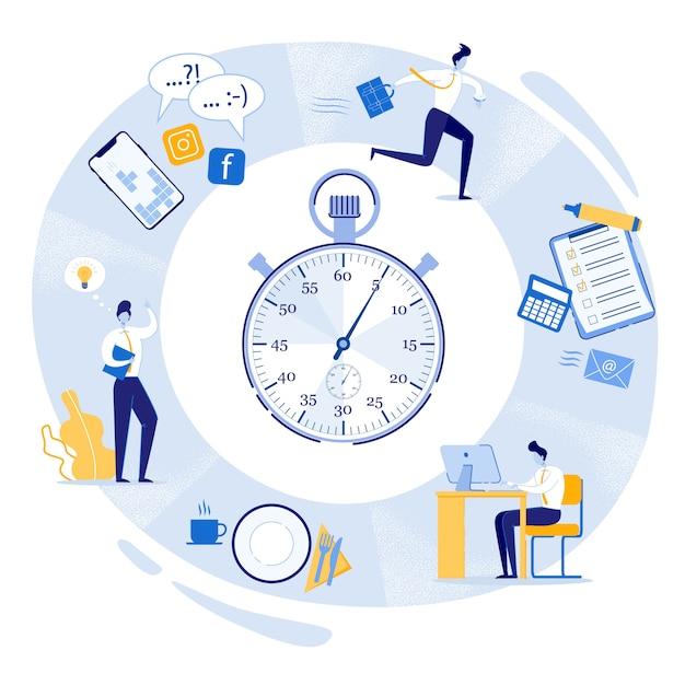 Jornada de trabajo, cronómetro con tareas diarias. Vector Premium