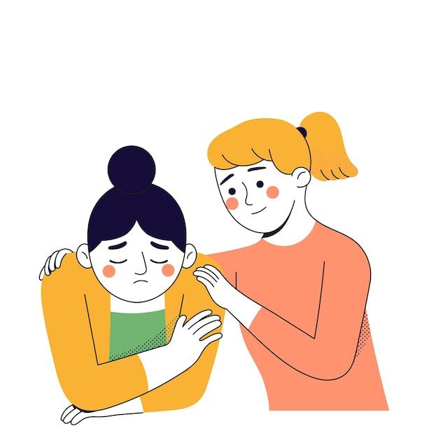Una joven abraza a su amiga porque su amiga está triste Vector Premium