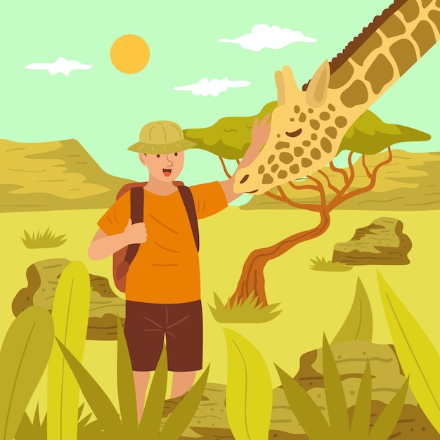 Joven acariciando una jirafa vector gratuito