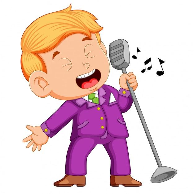 Joven cantando Vector Premium