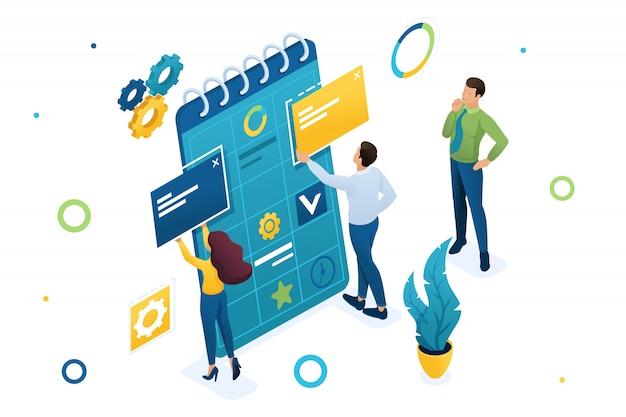 El joven equipo de empresarios está trabajando en la creación de un plan de negocios. Vector Premium