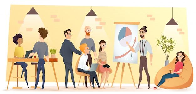 Joven equipo de negocios en vector de dibujos animados de coworking Vector Premium