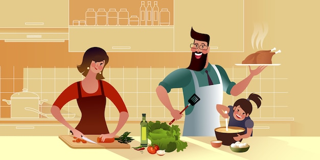 Joven familia feliz está cocinando sabrosa cena juntos en la cocina. mami, hija y papi. Vector Premium