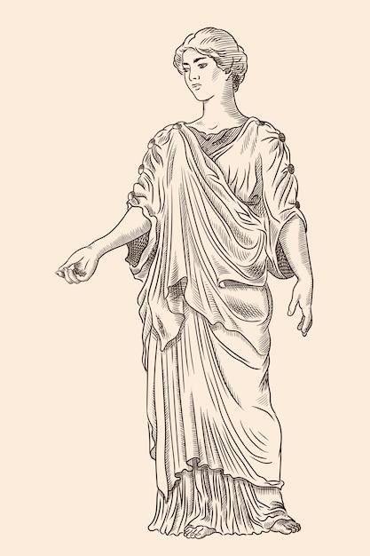 Una joven griega antigua con túnica y capa mira hacia otro lado y hace gestos. grabado antiguo. Vector Premium