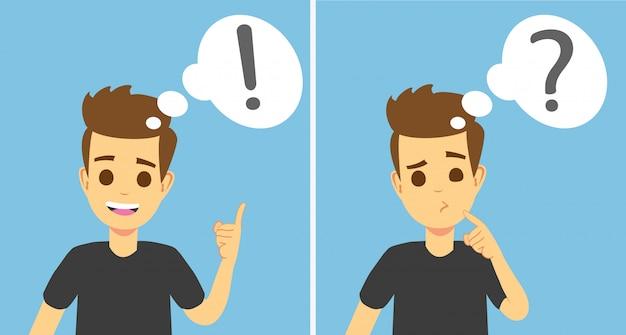 Joven inteligente pensando, entiende el problema y encuentra una solución exitosa Vector Premium
