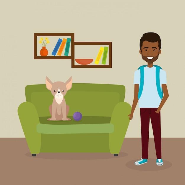 Joven con linda mascota en la casa vector gratuito