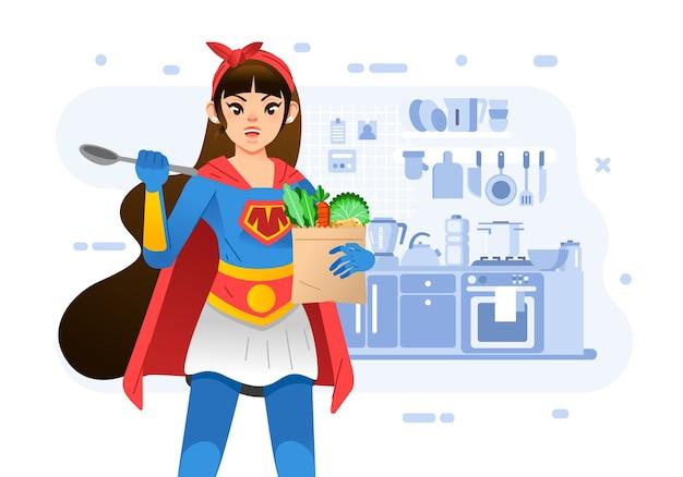 Joven madre vestida con traje de superhéroe mientras sostiene una cuchara y alimentos en la cocina, con el interior de la cocina como fondo. utilizado para carteles, portadas de libros y otros Vector Premium