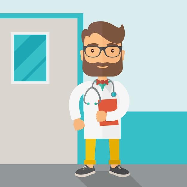 Joven médico masculino con estetoscopio. Vector Premium