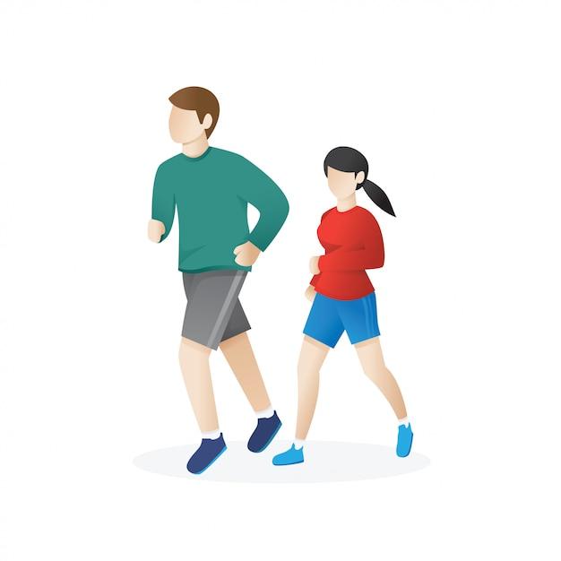 Joven y una mujer corriendo Vector Premium