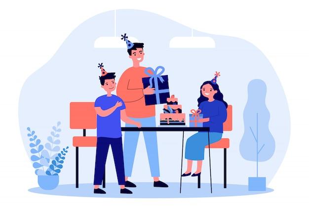 Joven padre e hijos celebrando cumpleaños de niña Vector Premium