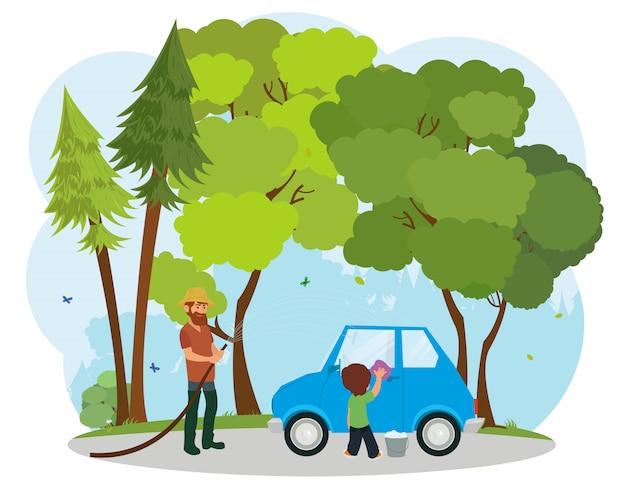 Joven padre con su pequeño hijo lavando coche. Vector Premium