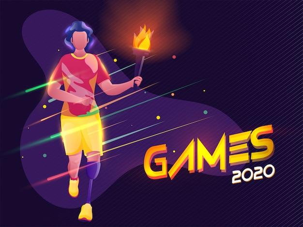 Joven paralímpico con antorcha llameante con efecto de luces sobre fondo de patrón de tira púrpura para juegos 2020. Vector Premium