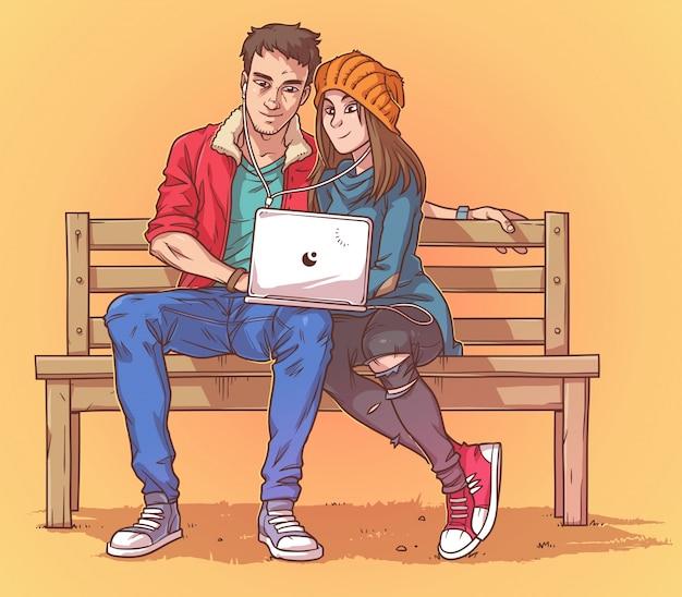 Joven pareja sentada en un banco y escuchar música vector gratuito