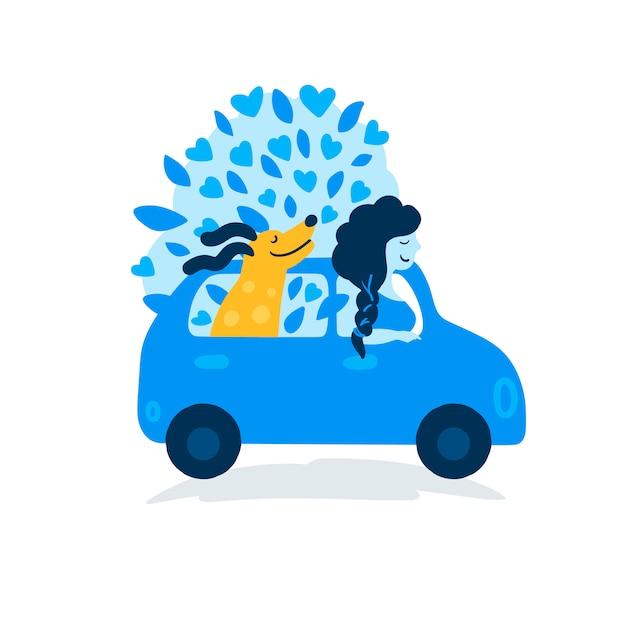 Una joven con un perro viajando en coche. Vector Premium
