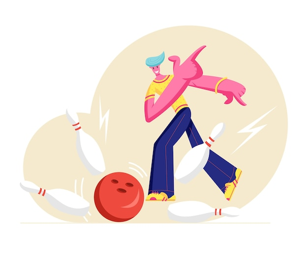 Joven personaje masculino feliz vistiendo ropa casual lanzar pelota golpeando la huelga perfecta en la bolera Vector Premium