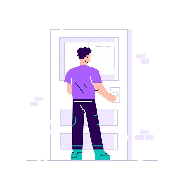 Joven personaje masculino sosteniendo un pomo de la puerta. entrando al edificio. joven trabajador atractivo sonriente en una elegante ropa casual de pie, abriendo, cerrando la puerta.ilustración plana aislado en blanco Vector Premium