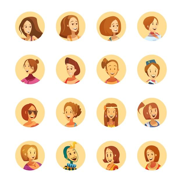 Joven sonriente estilo de dibujos animados de mujer ronda colección de iconos de avatar vector gratuito