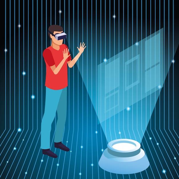 Joven usando tecnología de realidad virtual vector gratuito