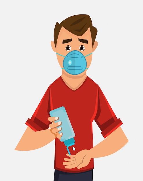 Joven use máscara y manos desinfectantes con gel desinfectante Vector Premium