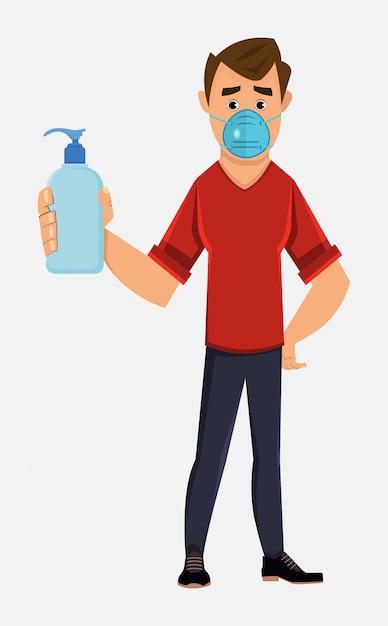 Joven use mascarilla y muestre la botella de desinfectante para manos Vector Premium