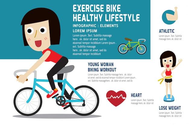 Una jovencita en bicicleta para hacer ejercicio. Vector Premium