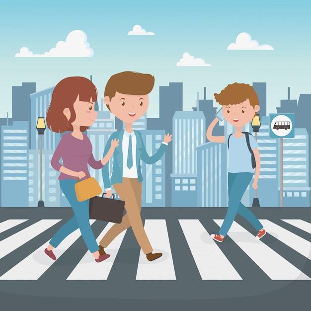 Jóvenes caminando por los personajes de la calle. vector gratuito