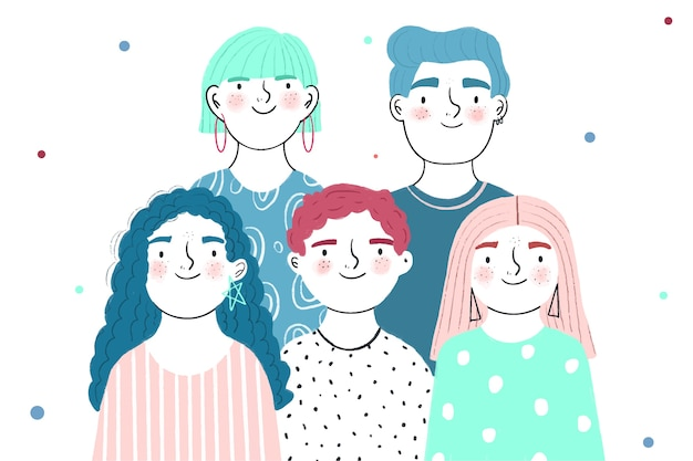 Jóvenes con caras felices vector gratuito