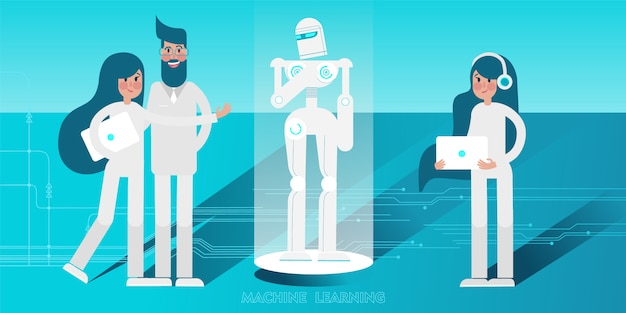 Jóvenes científicos con computadoras portátiles que programan robots humanoides. Vector Premium